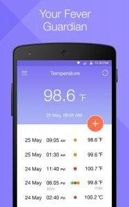 Temperature Diary screen 1
