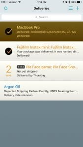 Deliveries: a package tracker screen1